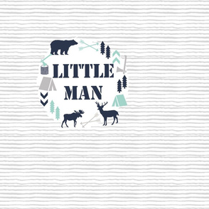 little man blanket  boys nursery baby grey mint blue