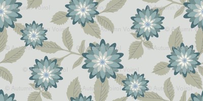 Dahlias Silver/Teal by autumnvdesigns