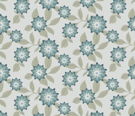 Dahlias Silver/Teal by autumnvdesigns fabric by autumnvdesigns on Spoonflower - custom fabric