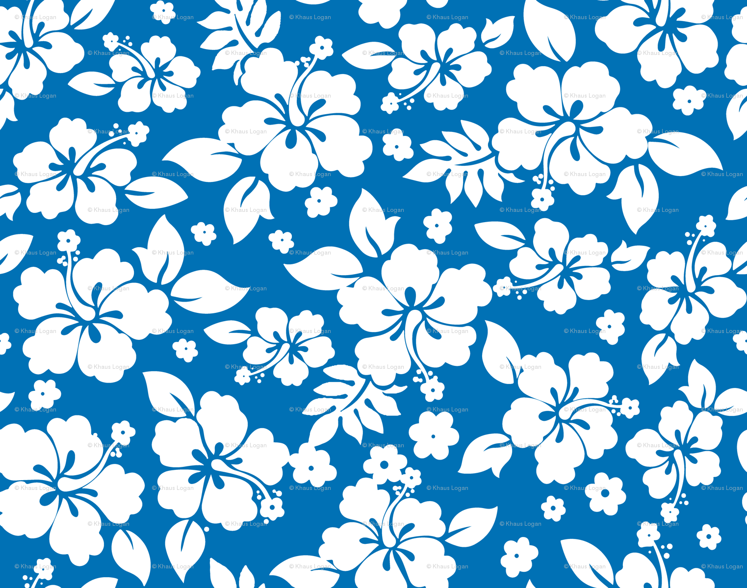 Hawaiian Flower Hisbiscus Pattern Blue and White Tropical