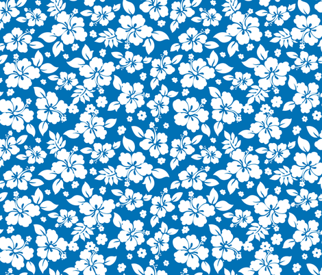 Hawaiian Flower Hisbiscus Pattern Blue and White Tropical Lulau fabric by furbuddy on Spoonflower - custom fabric
