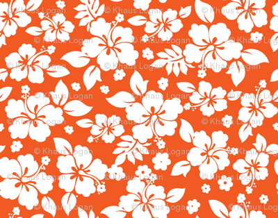 Hawaiian Flower Hisbiscus Pattern Orange and White Tropical Lulau