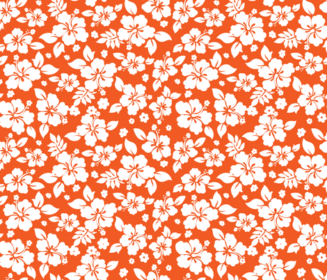 Hawaiian Flower Hisbiscus Pattern Orange and White Tropical Lulau fabric by khaus on Spoonflower - custom fabric