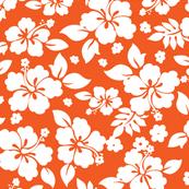Hawaiian Flower Hisbiscus Pattern Orange and White Tropical Lulau