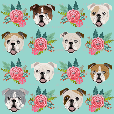 English Bulldog Faces Cute Florals Flowers Fabrics Mint And Pink