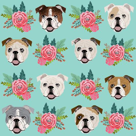 english bulldog faces cute florals flowers english bulldog fabrics cute florals mint and pink english bulldog fabric fabric by petfriendly on Spoonflower - custom fabric