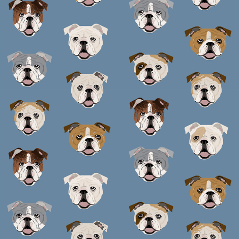 english bulldog faces cute dog face fabric cute design for pet lovers english bulldog owners love dogs fabric by petfriendly on Spoonflower - custom fabric