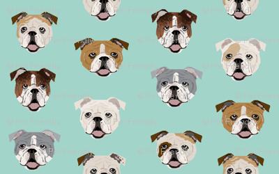 english bulldog faces fabric cute mint dog face design english bulldog fabrics cute dogs