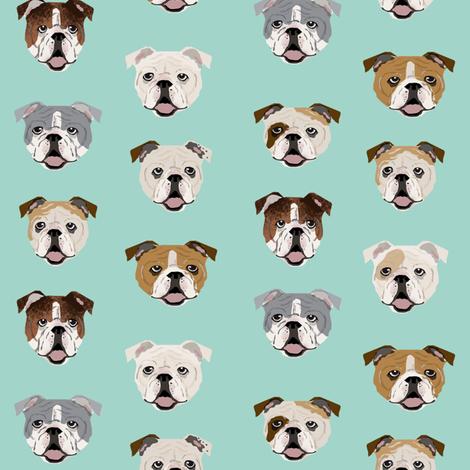 english bulldog faces fabric cute mint dog face design english bulldog fabrics cute dogs fabric by petfriendly on Spoonflower - custom fabric