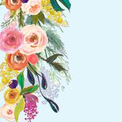 Autumn Blooms Painted Floral Border // Sky Blue