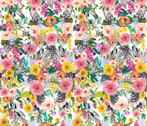 Autumn Blooms Painted Floral   fabric by theartwerks on Spoonflower - custom fabric