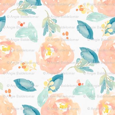 Orange and Mint Watercolor Flower Peonies