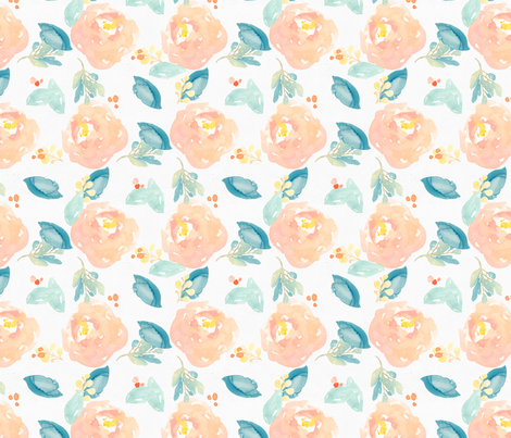 Orange and Mint Watercolor Flower Peonies fabric by angiemakes on Spoonflower - custom fabric