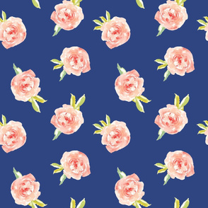 Watercolor Roses on Blue Background