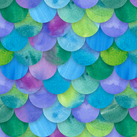 Multicolor Mermaid Scales fabric by washburnart on Spoonflower - custom fabric