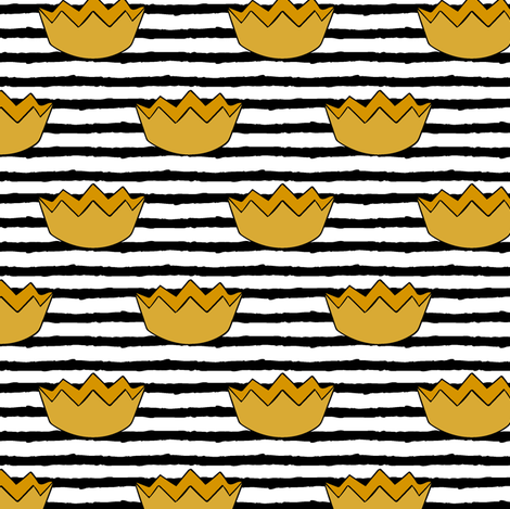 crowns || black stripes fabric by littlearrowdesign on Spoonflower - custom fabric