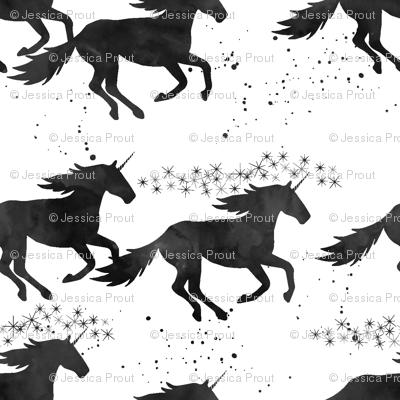 watercolor unicorns (small scale) || black