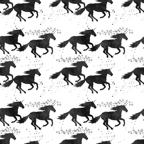 watercolor unicorns (small scale) || black fabric by littlearrowdesign on Spoonflower - custom fabric