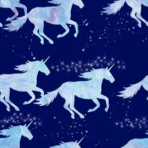 watercolor unicorns || blue