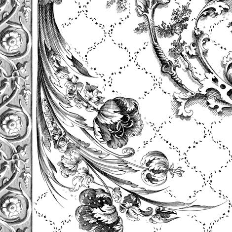 engraved tulips black fabric by keweenawchris on Spoonflower - custom fabric