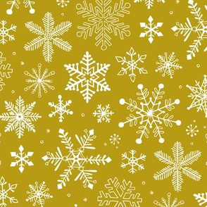 Snowflakes Christmas Holiday on Gold Yellow
