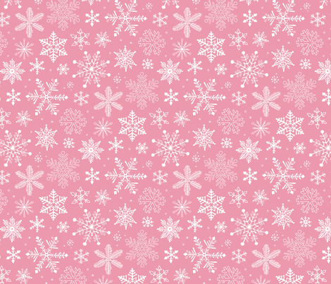 Snowflakes Christmas on Pink fabric by caja_design on Spoonflower - custom fabric