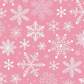 Snowflakes Christmas on Pink