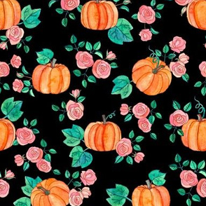 Pumpkins and Roses in watercolor on Black
