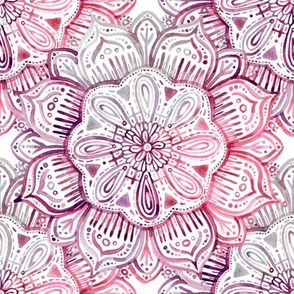 Burgundy Blush Watercolor Mandala