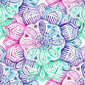 Iridescent Mint, Pink and Purple Watercolor Mandala