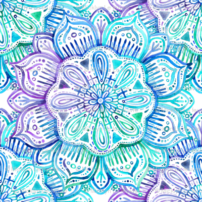 Iridescent Aqua And Purple Watercolor Mandala Fabric