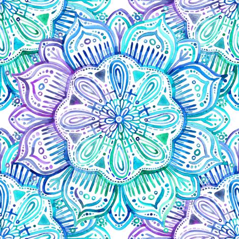 Iridescent Aqua and Purple Watercolor Mandala  fabric by micklyn on Spoonflower - custom fabric