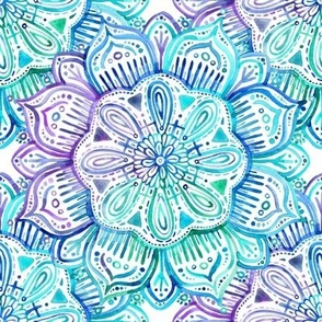 Iridescent Aqua and Purple Watercolor Mandala