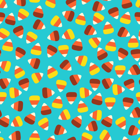 Candy Corn Coordinate-Turquoise fabric by halloweenhomemaker on Spoonflower - custom fabric