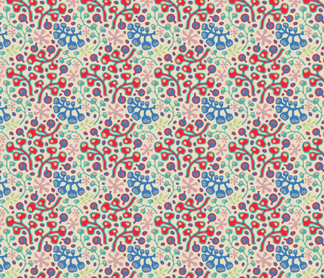 Summer Botanicals-Bright Red fabric by unblinkstudio on Spoonflower - custom fabric