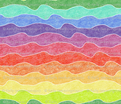 large rainbow crayon waves