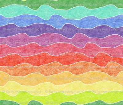 large rainbow crayon waves
