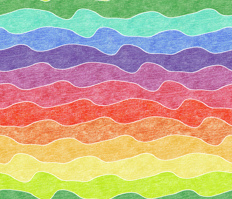 large rainbow crayon waves fabric by weavingmajor on Spoonflower - custom fabric