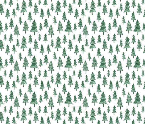 Sketchy Green Tree Pattern Wallpaper Swoldham Spoonflower