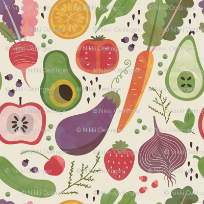 Watercolor Fruits & Veggies