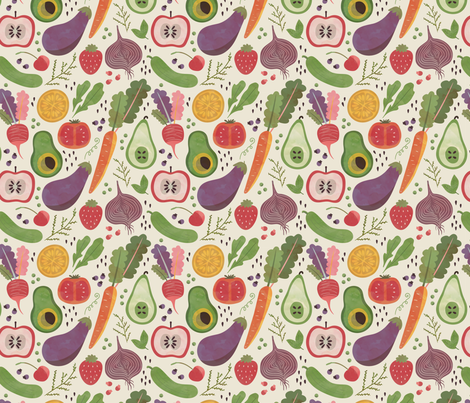 Watercolor Fruits & Veggies fabric by nikkilately on Spoonflower - custom fabric