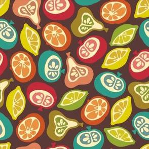 Juicy Fruits Vintage Retro Apple Pear Lemon Lime Orange Bright Colours Brown