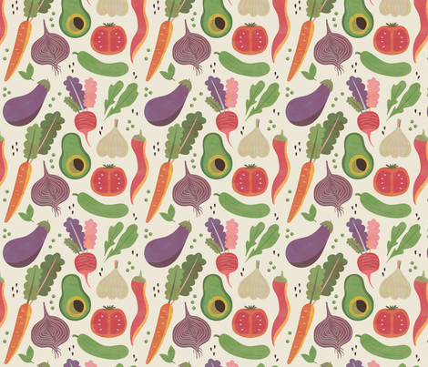 Watercolor Veggies fabric by nikkilately on Spoonflower - custom fabric