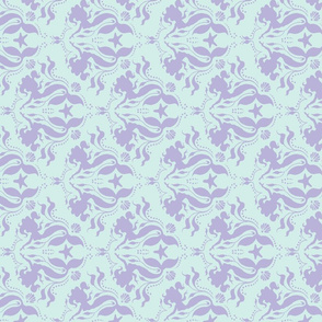 Mermaid damask- Aqua/lavender-90 degree turn