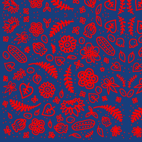 Scandinavian Flowers - Blue and Red