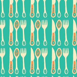 Cutlery Utensils Knife Fork Spoon Kitchen Food Turquoise Orange Cream