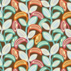 Groovy Leaves Vertical Pink Orange Turquoise Pale Purple Brown