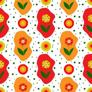 Spring Flowers Afloat Red Orange Yellow Green