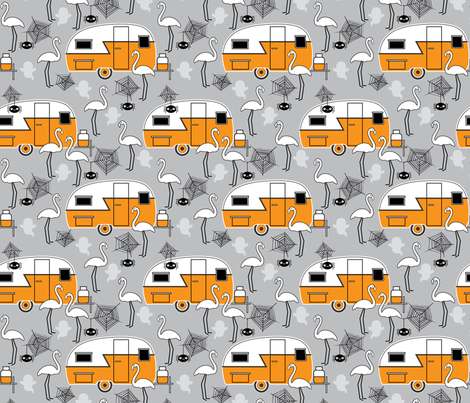 halloween trailers and flamingos on grey fabric by lilcubby on spoonflower custom fabric - Halloween Trailers