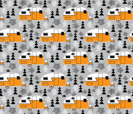 halloween trailers on grey fabric by lilcubby on spoonflower custom fabric - Halloween Trailers